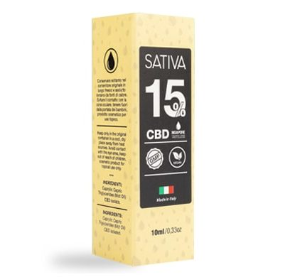 Emballage Huile CBD 10 ml au 15% - Sativa