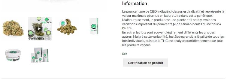 Certification des valeurs de THC sur les produits Justbob